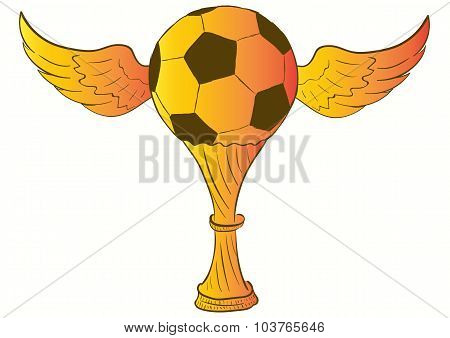 Cup with a winged soccerball