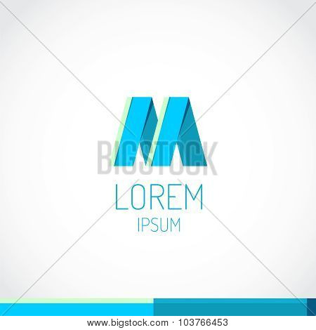 Trendy Flat Colors M Letter Logo Template