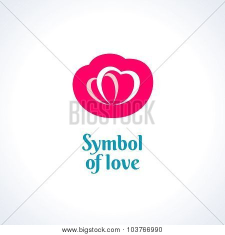 Love Symbol Logo Template. Two Hearts.