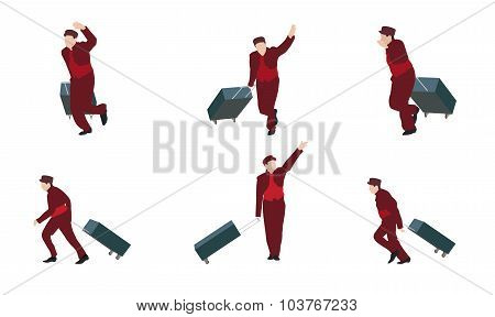 Man Goes to the Suitcase. Vector Illustration.