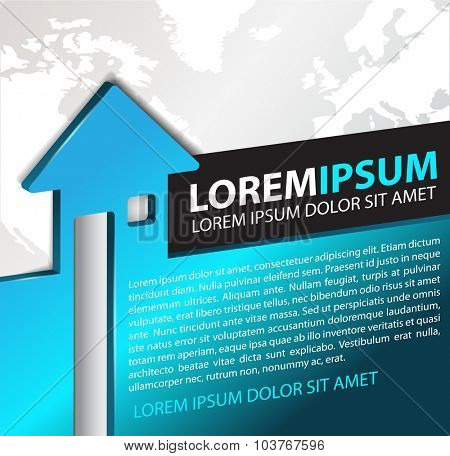 Vector background for real estate agency with abstract 3D house and continents. Can be used for a poster, brochure or flyer