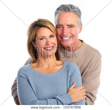 Happy smiling elderly couple isolated white background.