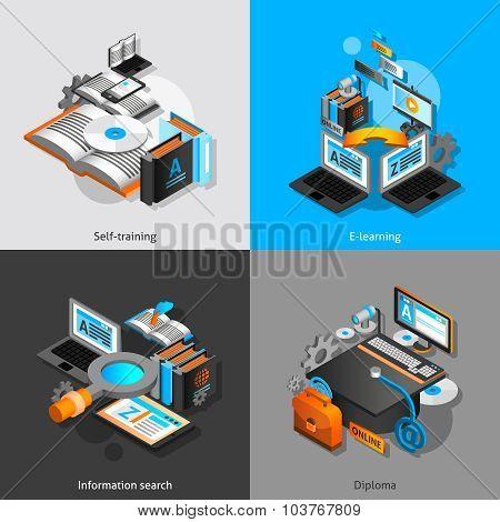 E-learning Isometric Set