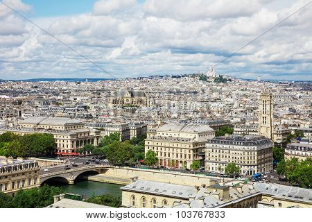 View Of Paris From The Notre Dame Cathedral In Paris, France