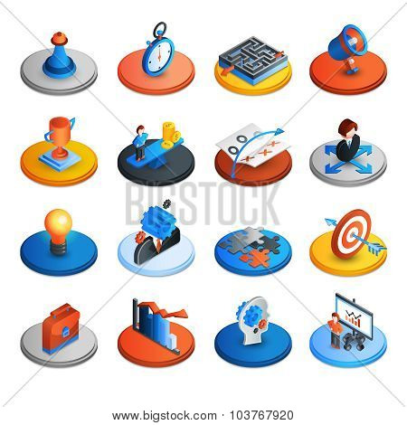 Business Strategy Isometric Icons