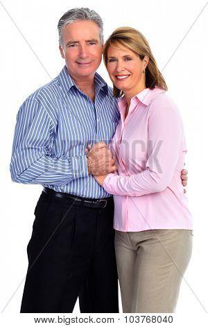 Happy loving elderly couple isolated white background.