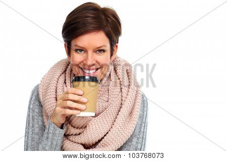 Beautiful lady with scarf and coffee mug isolated white background.