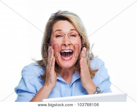 Happy senior woman with laptop computer isolated white background