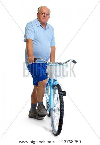 Elderly man with bicycle. Health and sport concept.