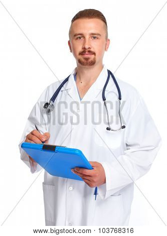 Young medical doctor with clipboard isolated white background.