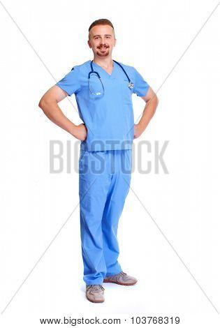 Smiling hospital doctor isolated over white background.