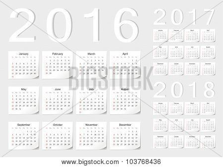 Set Of European 2016, 2017, 2018 Vector Calendars