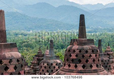 Stupas on top of Borobudur