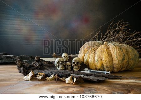 Still Life, Awesome Pile Of Skull Put On The Rod With A Pumpkin