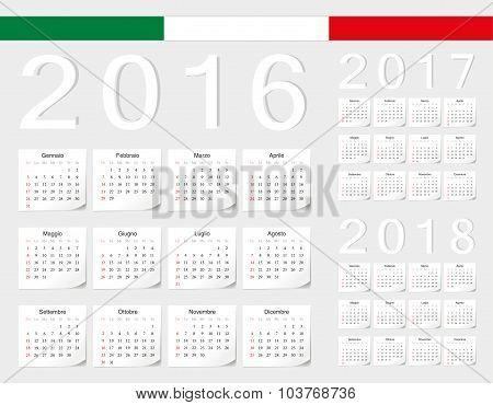 Set Of Italian 2016, 2017, 2018 Vector Calendars