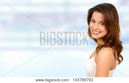 Young beautiful female portrait over banner background.