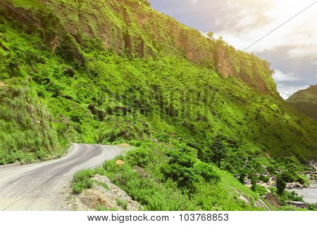Beautiful landscape with asphalt road in mountains, Annapurna area, Nepal