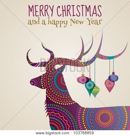 Merry Christmas greeting card with a deer and baubles, eps10 vector