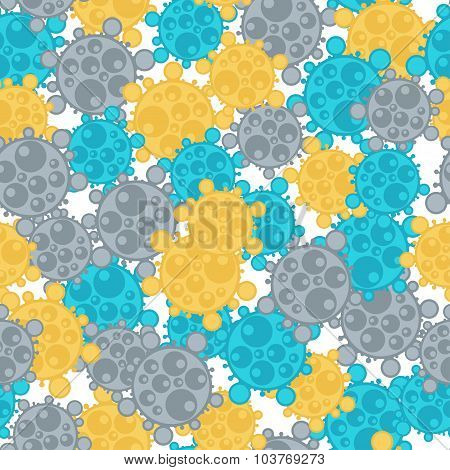 Medical seamless pattern with abstract viruses and microbes