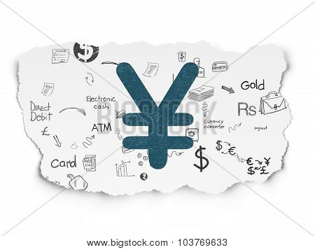 Banking concept: Yen on Torn Paper background