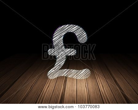 Currency concept: Pound in grunge dark room
