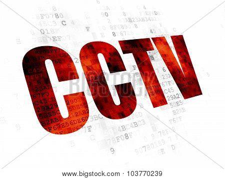 Safety concept: CCTV on Digital background