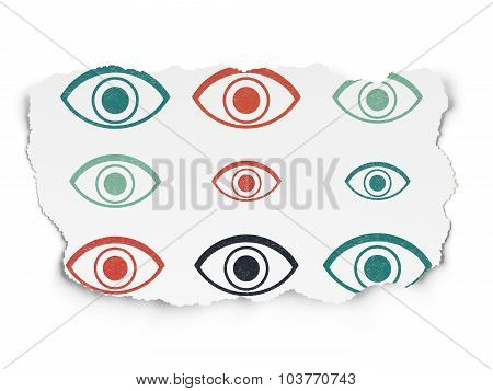 Protection concept: Eye icons on Torn Paper background