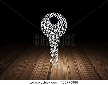 Protection concept: Key in grunge dark room