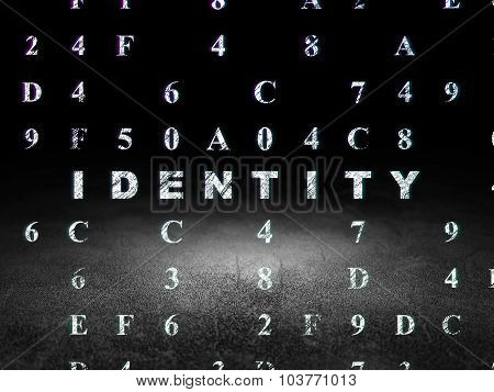 Protection concept: Identity in grunge dark room