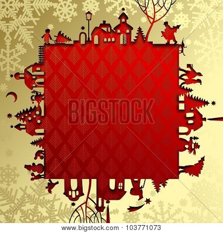 Gold Christmas and New Year's paper frame with silhouette of town and people on red background. Christmas and New-Year's greeting card. Vector illustration