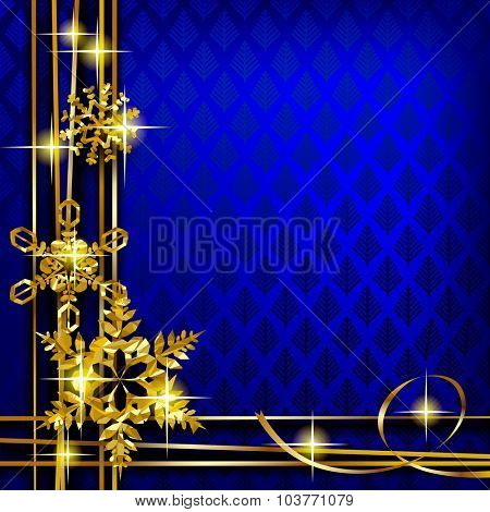 Christmas and New-Year's greeting card with blue background and gold foil snowflakes. Vector illustration