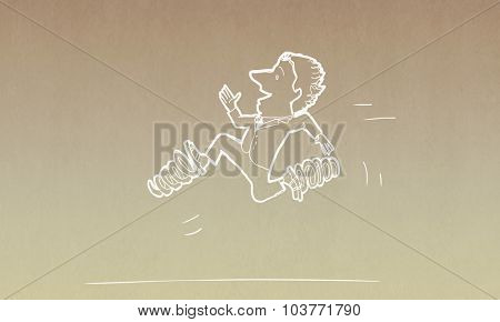 Caricature of funny businessman running with springs on legs