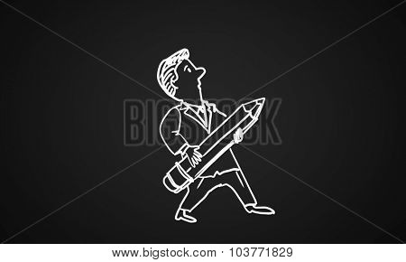Caricature of funny man with pencil on black background