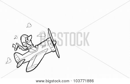 Cartoon image with drawn pilot sitting in flying plane