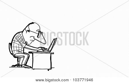 Caricature of funny writer man on white background
