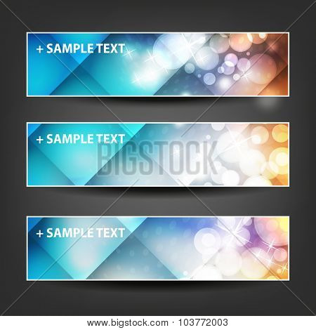 Set of Horizontal Christmas, New Year or Other Holidays Banner / Cover Background Designs