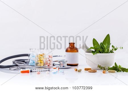 Herbal Medicine Vs Chemical Medicine The Alternative Healthy Care With Stethoscope Isolate On White