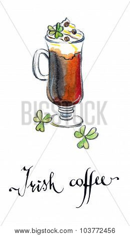Glass Of Irish Coffee With Clover Leaves
