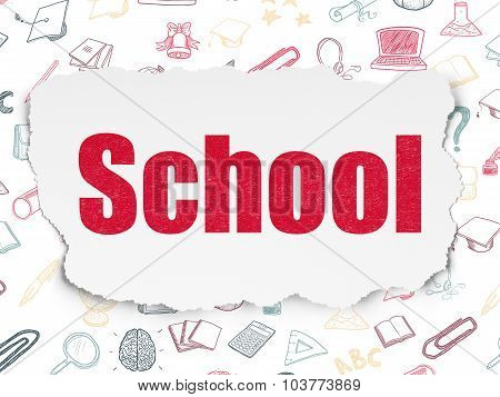Learning concept: School on Torn Paper background