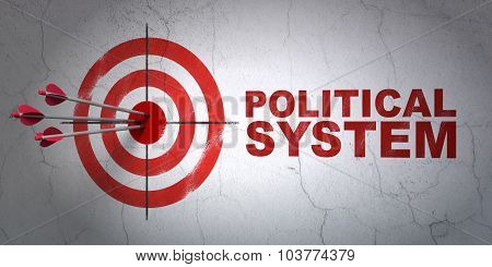 Politics concept: target and Political System on wall background