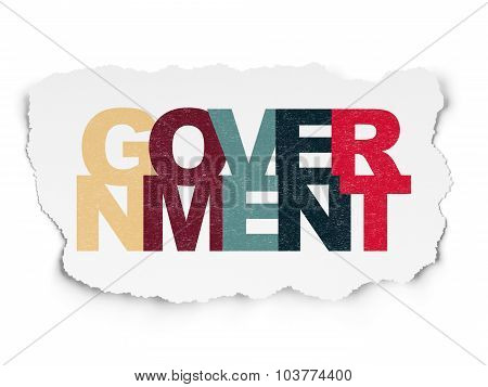 Politics concept: Government on Torn Paper background