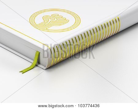 Politics concept: closed book, Uprising on white background