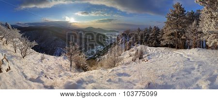 Slovakia Country Landscape Panorama At Winter