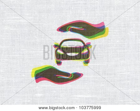 Insurance concept: Car And Palm on fabric texture background