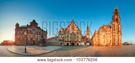 Dresden Panorama Square, Hofkirche, Germany