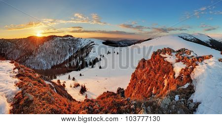 Landscape With Sun And Winter Mountain
