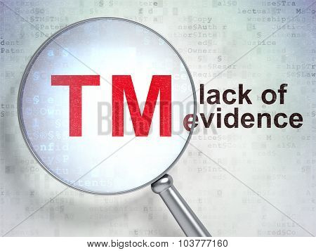 Law concept: Trademark and Lack Of Evidence with optical glass