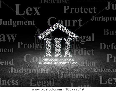 Law concept: Courthouse in grunge dark room