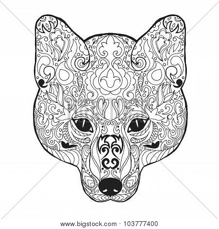 Zentangle stylized fox head. Sketch for tattoo or t-shirt.