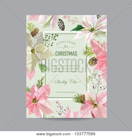 Christmas Frame or Card - in Watercolor Style - vector